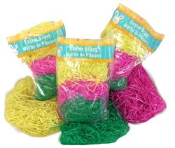 3 Variety Packs of Multicolored Yellow Pink & Green Reusable Shredded Plastic Easter Basket  ...