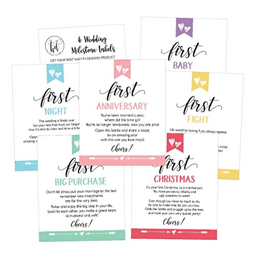 6 Cute Wedding Milestones Gift Wine Bottle Labels Or Sticker Covers
