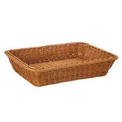 16″ Poly-Wicker Bread Basket, Long Woven Tabletop Food Fruit Vegetables Serving Basket, Re ...