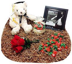 School Graduation Gift Plush Bear Stuffed Animal, Keepsake Frame, Candy Gift Basket & Flower ...