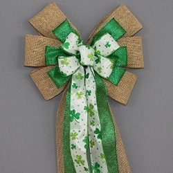 Burlap Sparkle Shamrock St. Patrick's Day Wreath Bow – available in 2 sizes