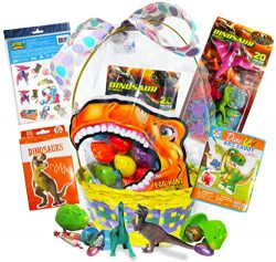 Jurassic Dinosaur Easter Gift Basket Cadbury Caramel and Reese's Peanut Butter Eggs. Giant ...
