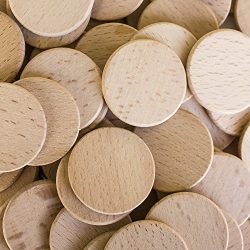 Round Unfinished 1.5″ Wood Cutout Circles Chips for Arts & Crafts Projects, Board Game ...