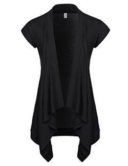 NEARKIN (NKNKWCD692S) Women Daily Casual Slim Cut Look Short Sleeve Open Front Cardigans BLACK U ...