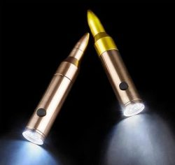 6.25″ Bullet Shaped LED .50 Caliber Flashlight – 1 Pack Assorted – Grooms Gift ...