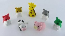 Japanese Iwako Puzzle Erasers: 4 Hamsters (Special Exclusive Colors: Happy Valentine Red, Holida ...