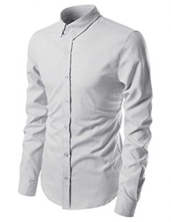 NEARKIN NKNKN451 Long Sleeve Pin Point Solid Oxford Cotton Button Down Dress Shirts Lightgray US ...