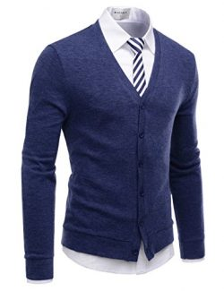 NEARKIN (NKNKCAC1) Mens Knitwear City Casual Slim Cut Long Sleeve Cardigan Sweaters BLUE US XS(T ...
