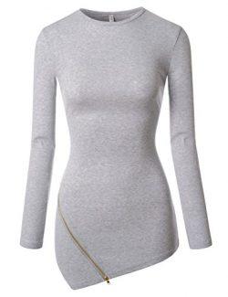 NEARKIN (NKNKWZT65) Womens Slim Cut Crewneck Unbalanced Hem Zippered Tshirts GRAY US XXS(Tag siz ...