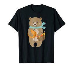Cute Bear Pumpkin T-Shirt Gift Thanksgiving Halloween Day