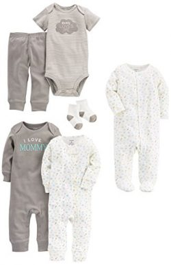 Carter's Baby 6 Basics Set + 3-Piece Bonus Accessories, Gray, Newborn