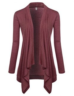 NEARKIN (NKNKWCD692) Womens Lightweight Long Sleeve Open Front Drape Tunic Cardigans WINE US L(T ...