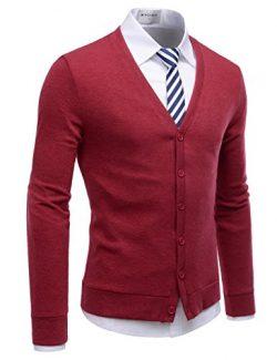 NEARKIN (NKNKCAC1) Mens Knitwear City Casual Slim Cut Long Sleeve Cardigan Sweaters RED US XXL(T ...
