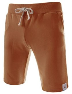 NEARKIN (NKTTS01) Daily Casual Men Waist Elastic Cotton Beach Sweatshorts BRONZE Medium(US 27~29)
