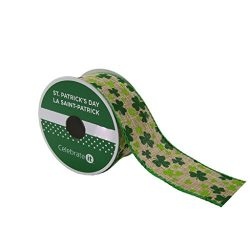 St. Patrick's Day Faux Linen Wired Shamrock Ribbon with Wired Edge 1.5″ x 9′