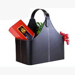 Leather Gift Basket,Magazine Newspaper Holder/Racks,Storage Organizer for Wine Flowers Fruits Ca ...