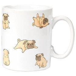 Ceramic Coffee Mug with Handle – Smiley Dog Design, Large Stoneware Tea Cup for Dog Lovers ...