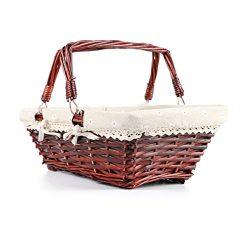 MEIEM Easter Basket Gift Basket Wicker Woven Picnic Basket with Double Folding Handles Rectangul ...