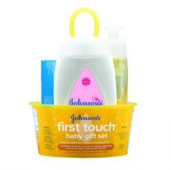 Johnson's First Touch Baby Gift Set, Baby Bath, Skin, and Hair Essential Products for New  ...