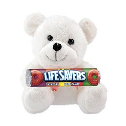 Candy Lovers Shop Fuzzy Friends Plush Teddy Bear with Life Savers Hard Candy Roll Gift Set, White