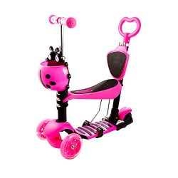 ANCHEER Kids 5-in-1 Scooter with Removable Seat – 3 Wheel Mini Kick Scooter with Adjustabl ...