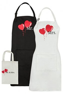 Let the Fun Begin Mr. and Mrs. Aprons Set – with Pocket and Gift Bag – Anniversary W ...