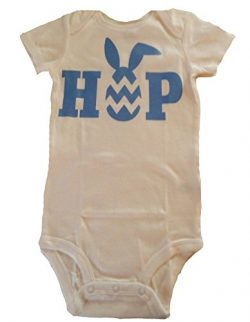 "Custom Kingdom Baby Boys/Girls ""Hop"" Easter Egg and Bunny Romper Bodysuit White (6 M ..."