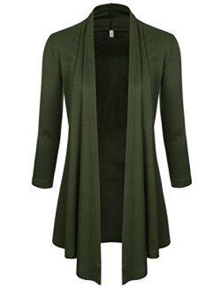 NEARKIN (NKNKWCD6937) Womens Open Front Slim Cut Look 3/4 Sleeve City Casual Cardigans KHAKI US  ...
