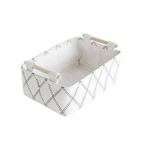 CutieUnion Decorative Collapsible Rectangular Fabric Storage Bin Organizer  Basket With Wooden ...