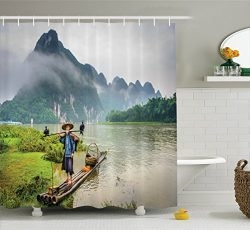 Ambesonne Lake House Decor Collection, Traditional Chinese Fisherman with Birds and Basket on Ri ...