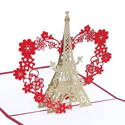 Echeer Paper Eiffel Tower Pop up Birthday Greeting Cards, Wedding Congratulations Cards, 3D Pop ...