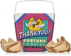 Thank You Gift Fortune Cookies In A Gift Box – 8 Pieces Traditional Vanilla Flavor Individually  ...