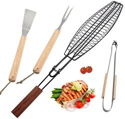 ROMANTICIST Non Stick Extra Large Fish Grill Basket for Grilling Any Fish Up To 16-4pc Heavy Dut ...