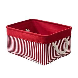 TcaFmac Decorative Fabric Storage Basket,Red Canvas Bins Storage Containers for Empty Gift Baske ...