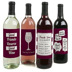 Girly Thank You – Wine Bottle Labels Thank You Gift – Set of 4