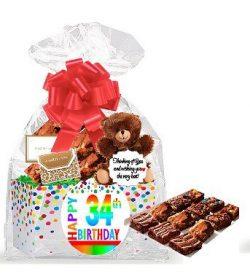 34th Birthday / Anniversary Gourmet Food Gift Basket Chocolate Brownie Variety Gift Pack Box (In ...