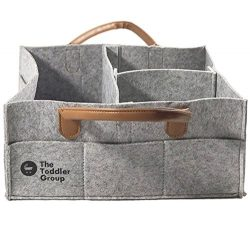 The Toddler Group Baby Diaper Caddy | Nursery Diaper Tote Bag | Large Portable Car Travel Organi ...