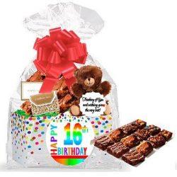 16th Birthday / Anniversary Gourmet Food Gift Basket Chocolate Brownie Variety Gift Pack Box (In ...