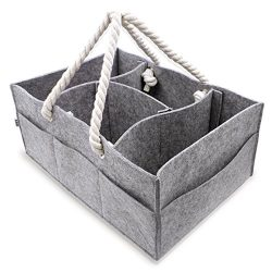 Baby Diaper Caddy Organizer | Large Portable Car Basket for Toys Wipes Diapers | Newborn Storage ...