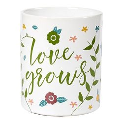 Ceramic Coffee Mug with Handle – Love Grows, Large Stoneware Tea Cup with Floral Design, N ...