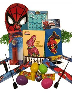 Spiderman Easter Basket Bundle with Spiderman Toys, Candy, and Easter Eggs