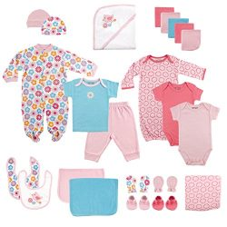 Luvable Friends Baby 24 Piece Gift Cube Set, Pink Birds, 0-6 Months