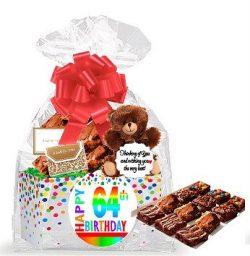 64th Birthday / Anniversary Gourmet Food Gift Basket Chocolate Brownie Variety Gift Pack Box (In ...