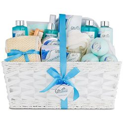 Ocean Bliss Extra Large Spa Bath Gift Basket Set by Giftsational | Includes 3 Bath Bombs, Shower ...