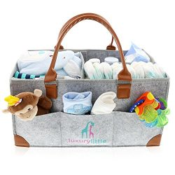Baby Diaper Caddy Organizer – Extra Large Storage Nursery Bin for Diapers Wipes & Toys ...