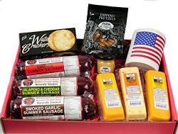 Ultimate USA Gift Basket – features USA Flag Mug, Smoked Summer Sausages, 100% Wisconsin C ...