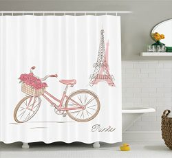 Ambesonne Vintage Decor Collection, Vintage Bike with Roses in Basket Paris Eiffel Tower Landsca ...