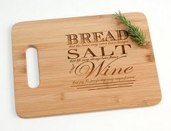 Engraved Wood Cutting Board Housewarming Gift, Bread Salt Wine Quote from It's a Wonderful ...