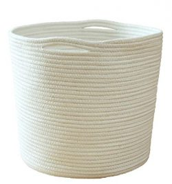 NEW! Large Rope White Round Toy Storage Laundry Hamper Basket with Handles – Organize Clothes, B ...