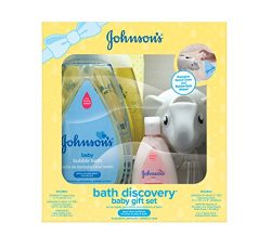 Johnson's Bath Discovery Baby Gift Set for Parents-to-Be, Bath Caddy with Baby Essentials  ...